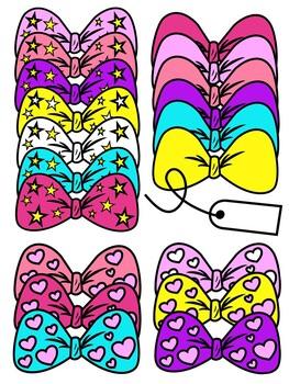 Bows Clip Art - Jojo Siwa Inspired - Hearts and Stars 10