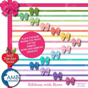 Bows Clipart, Pretty Ribbons and Bows Clipart, {Best Teacher Tools} AMB-971