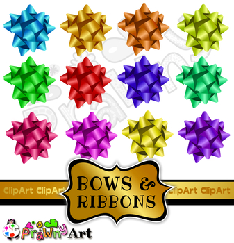 Bows & Ribbons Clipart - Holiday Decoration Design Elements