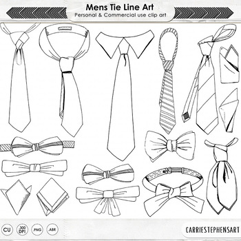 Men's Ties, Bow Tie Digital Stamps, Fathers Day Line Art