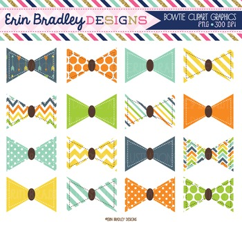 Bowtie Clipart Graphics Blue Orange Yellow Green Little Man Bow Ties Clip Art
