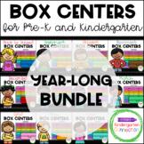Box Centers - Kindergarten Math and Literacy Centers Year-