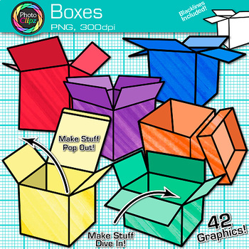 Box Clip Art {Rainbow Shipping and Moving Packages for Teacher Resources}
