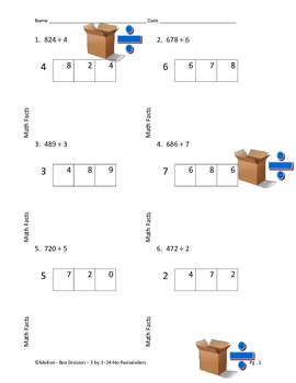 Box Division 3 x 1 - 24 Problems - No remainders
