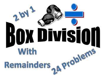 Box Division Method 2 by 1 - 24 problems - Remainders