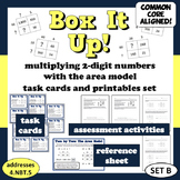 Box It Up! multiply 2-digit #s with the area model task cards/printables (set b)