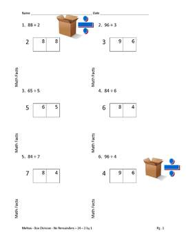 Box Method Division 24 Problems Each Multipack