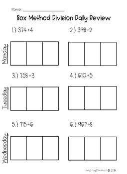 Box Method Division Homework