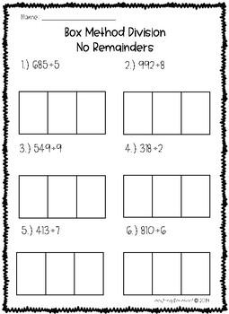 Box Method Division Worksheets