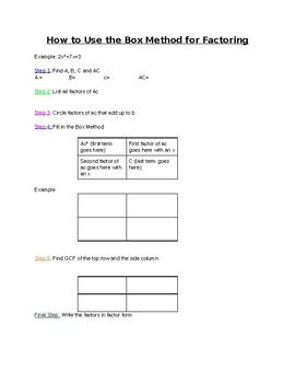 Box Method Factoring