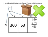Box Method Multiplication 2 by 1 - 24 Problems