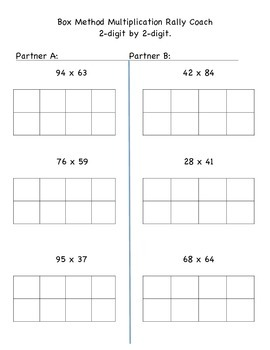 Box Method Multiplication 4x1 and 2x2 - Rally Coach - Cooperative Learning