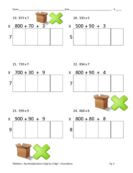 Box Method Multiplication - Partial Products 3 by 1 - 24 Problems
