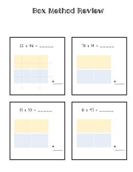 Box Method Multiplication Review