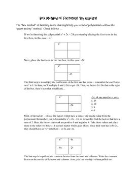 Box Method of Factoring Handout
