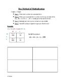 Box Method of Multiplication Cheat Sheet