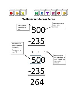 Box Method to Subtract Across Zeros
