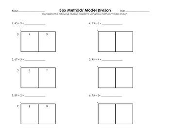 box model method division worksheet by elizabeth diniz tpt. Black Bedroom Furniture Sets. Home Design Ideas
