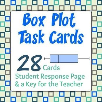 Box Plot Task Cards - 28 Cards, Student Response Sheet, Key