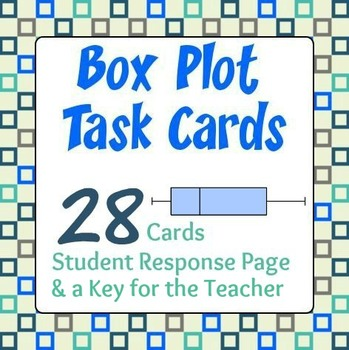 Box Plot Task Cards - 28 Cards, Student Response Sheet, Key