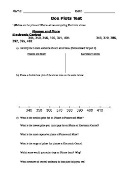 Box Plot Test/Quiz EDITABLE