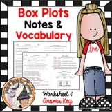Box and Whisker Plots Notes and Practice Worksheet with Answer Key
