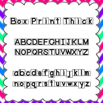 Box Print Thick Font {personal and commercial use; no lice