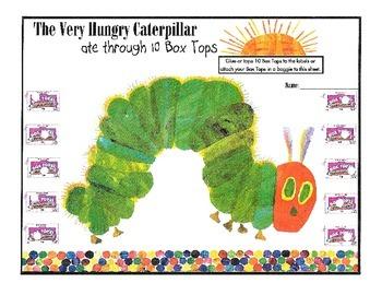 Box Top Collection Sheet - Caterpillar Theme