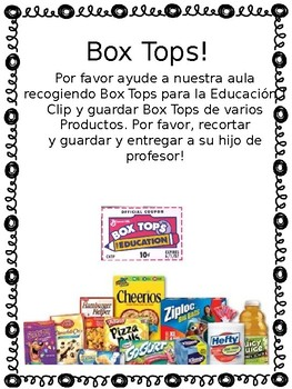 Box Top letter to parents *SPANISH* by NoPlaceLikeKindergarten | TpT