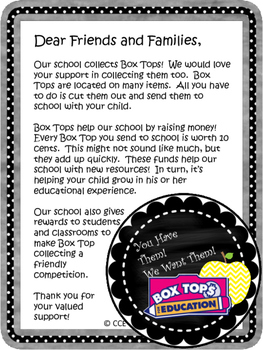 Box Tops / Open House /Back to School