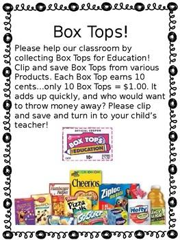 Box Tops letter to parents by NoPlaceLikeKindergarten   TpT