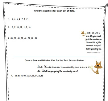 Box and Whisker Notes for Interactive Notebook