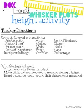 Box and Whisker Plot - Height Activity