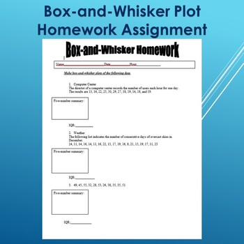 Box and Whisker Plot Homework