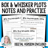 Box and Whisker Plots Notes and Practice - For Distance Learning