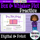 Box and Whisker Plot Practice   Printable & Digital   5 Number Summary