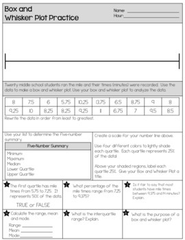 Box and Whisker Plot - FREEBIE by The Clever Clover | TpT