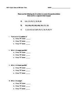 Box and Whisker Quiz- with Answer Key