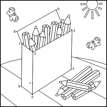 Connect the Dots and Coloring Page with Box of Pencils, Commercial Use Allowed