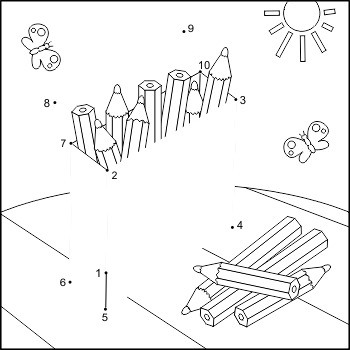 Connect the Dots and Coloring Page with Box of Pencils, Co