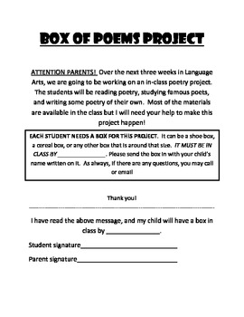 Box of Poems project