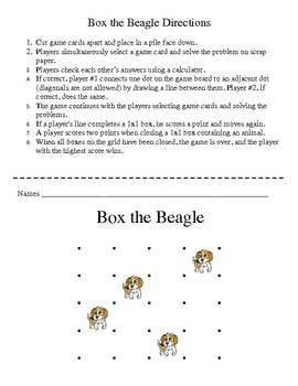 Box the Beagle - A 2-Player Game to Practice Multiplication of Whole Numbers