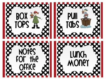 Box top    Pull Tab  Lunch Money   Office Notes Label Pirate/Polka dot