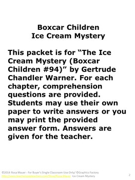 Boxcar Children Ice Cream Mystery Literacy Unit