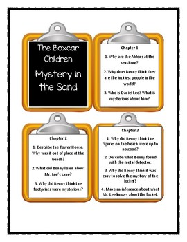 Boxcar Children MYSTERY IN THE SAND - Discussion Cards