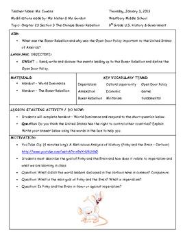 Boxer Rebellion Handouts and Lesson Plan - PDF file
