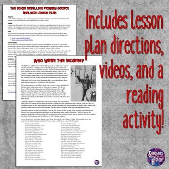Boxer Rebellion Primary Source Analysis Lesson Plan
