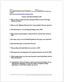 Imperialism: Boxer Rebellion Primary Source Worksheet
