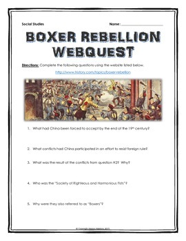 Boxer Rebellion - Webquest with Key (Imperialism in China)