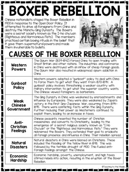Boxer Rebellion in China Reading Comprehension Worksheet; Imperialism